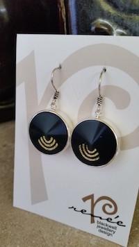 Flash Sale! Italian Black/Gold Resin Earrings   #GB1