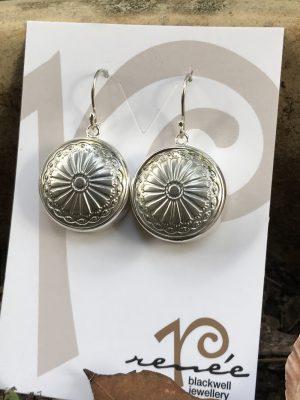 Silver Tone Vintage Italian Button Earrings   #AQ1