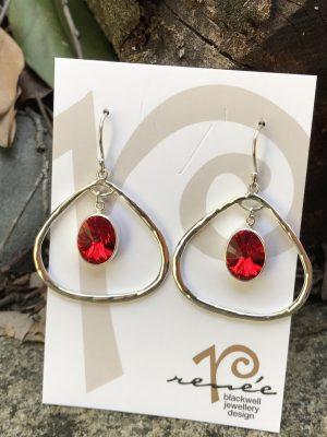 "Glorious ""Siam Red"" Swarovski Crystal Earrings    #RRD"
