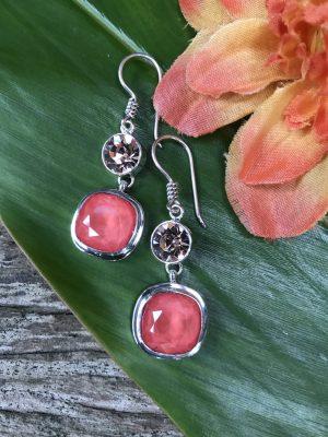 """Watermelon/Peach"" Swarovski Crystal Earrings   #SIU7"