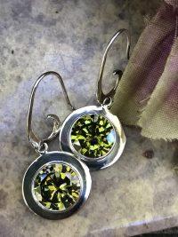 Extra Sparkly Peridot Green Swarovski Crystal Earrings    #PCE