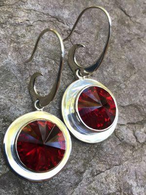 """""""Siam Red"""" Swarovski Crystal Earrings     #SCSR"""