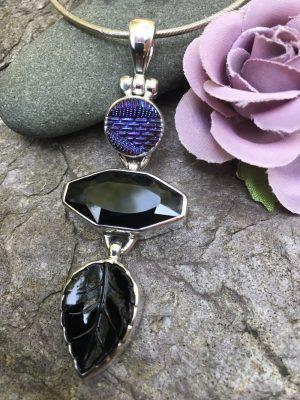 Classic Black & Peacock Blue/Purple Vintage Button Pendant   #PBB