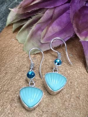 Delightful Aqua Blue Vintage Button Two Drop Earrings    #S12