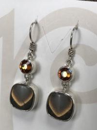 Classy Vintage Italian Button & Butterscotch Swarovski Crystal Earrings    #POK