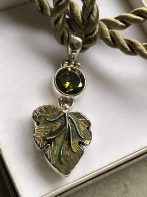 Eye Catching Green Leaf & Crystal Pendant      #BGT