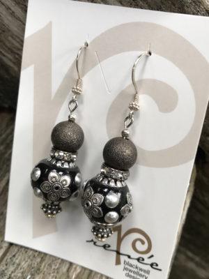Fantastic Black/Silver/Pewter Beaded Earrings    #SEB2