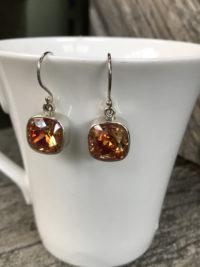 Glorious Tangerine Swarovski Crystal Earrings    #NJI