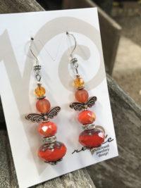 """Orange Lovers Delight"" Longer Beaded Earrings    #BEO6"