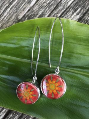 Happiest Orange Vintage Button Earrings!    #OBO