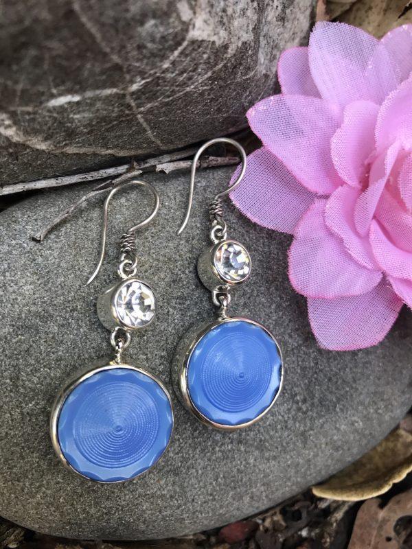 Remarkable Blue & Crystal Earrings!   #XQ1