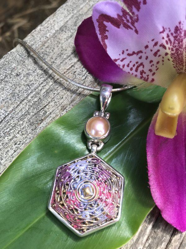 """Delightful """"Colour Wash"""" Antique Button& Pearl Pendant  #SP21"""
