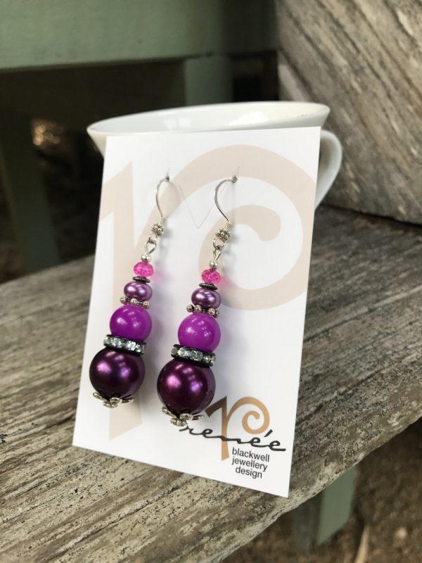 """Colour Splash"" Fuchsia Beaded Earrings    #QZ1"