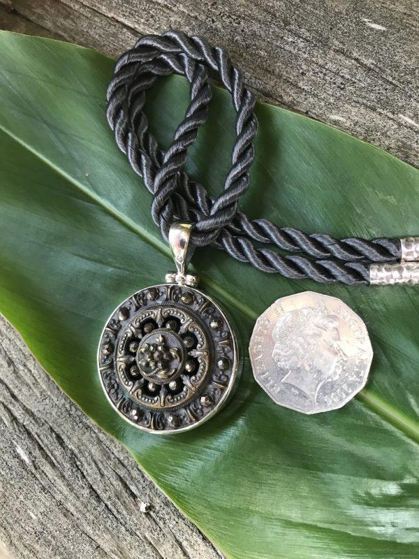 Collectable Antique 1800's Era Button Pendant    #FRT