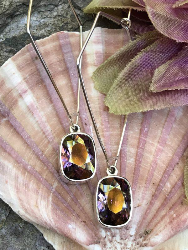 Two Tone Swarovski Crystal Earrings    #PBC